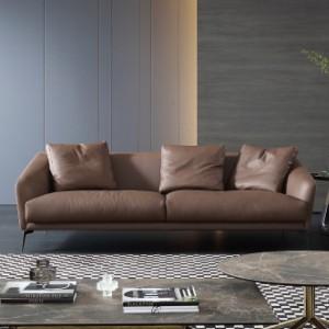 真皮沙发意式极简真皮沙发北欧轻奢皮艺小户型直排客厅组合简约现代整装 【纳帕真皮】2.15米三人位