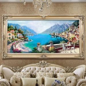 欧式客厅手绘油画地中海风景餐厅挂